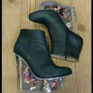 Jeffrey Campbell black leather Icy confetti heels